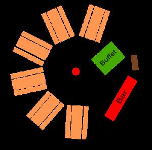 Tipi Sitzplan 10m Durchmesser mit Catering