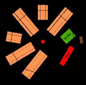 Tipi Sitzplan 13m Durchmesser mit Catering